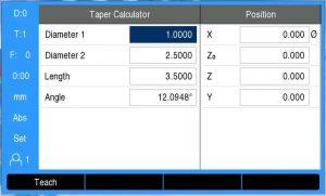 DRO 300 Taper Calculator