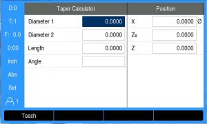 DRO200 Taper Calculator